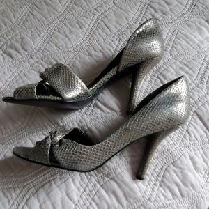 Nine West silver faux snakeskin high heels